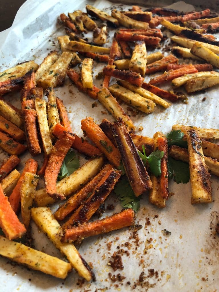 roasted harissa root vegetable fries just out of the oven