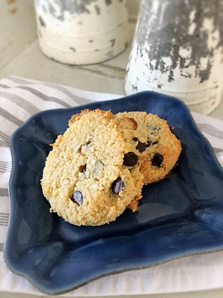 A gluten-free and sugar-free salted dark chocolate chip cookie.