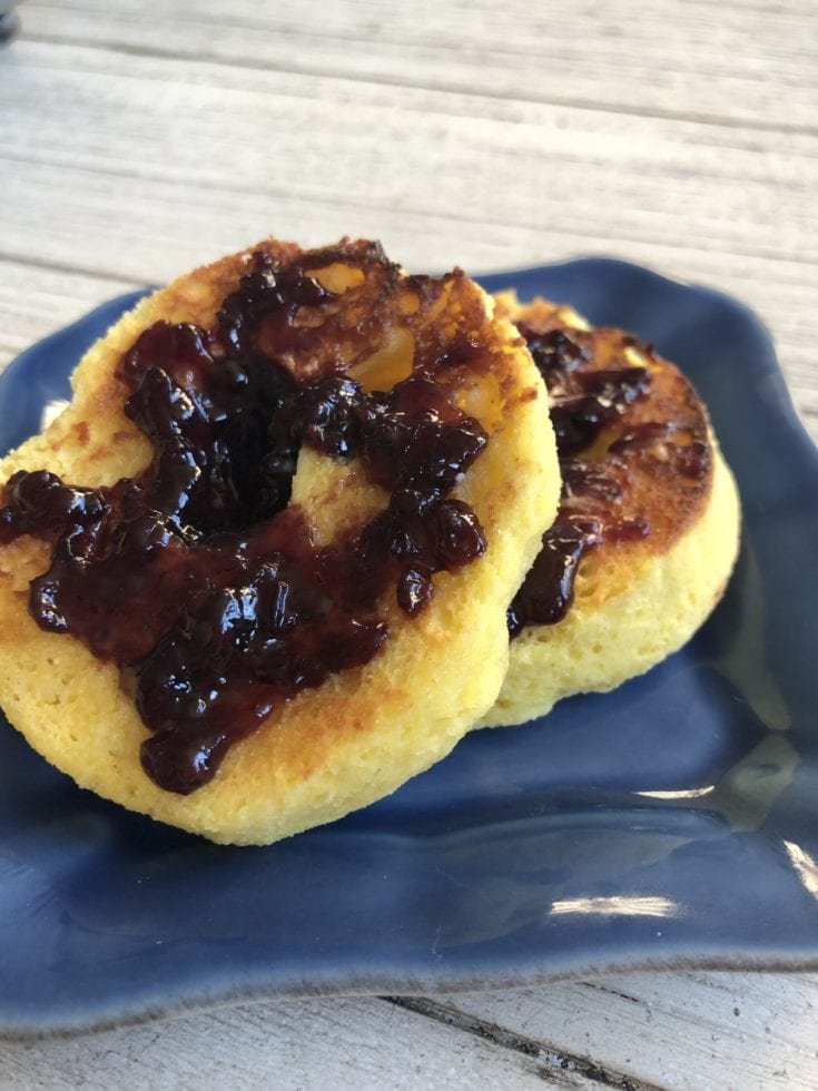keto muffin with blackberry jam