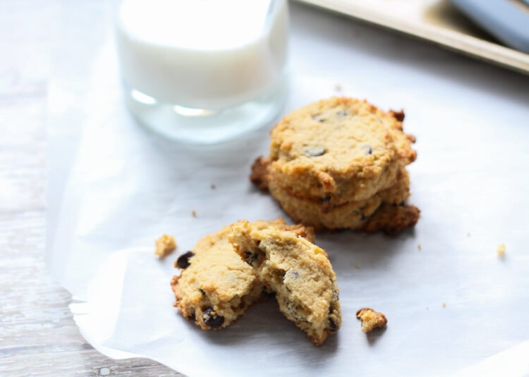 low car peanut butter chocolate chip cookies and a glass of milk