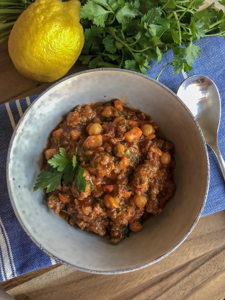 Moroccan Lamb chili with sweet potato and chick peas in harissa sauce