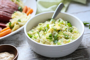 cauliflower colcannon with corned beef