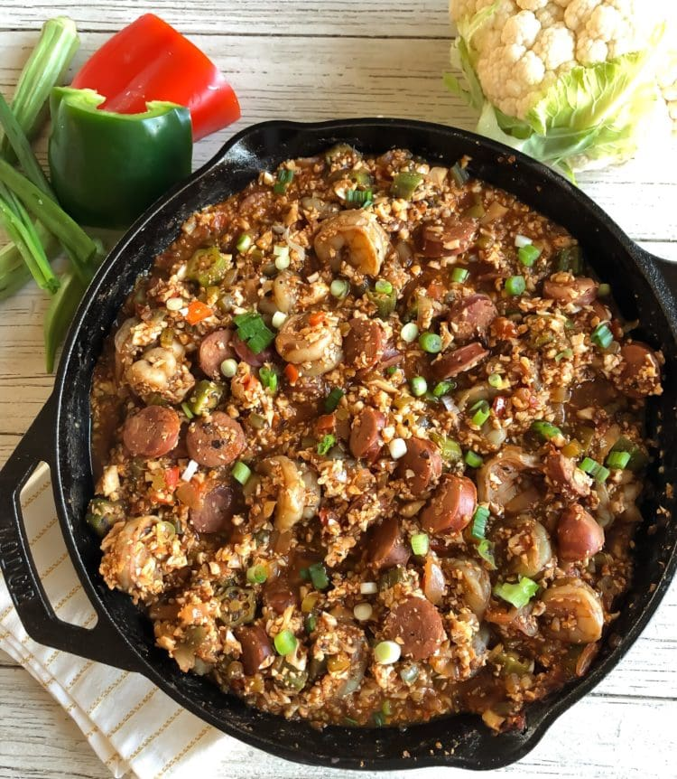 low carb shrimp & sausage jambalaya