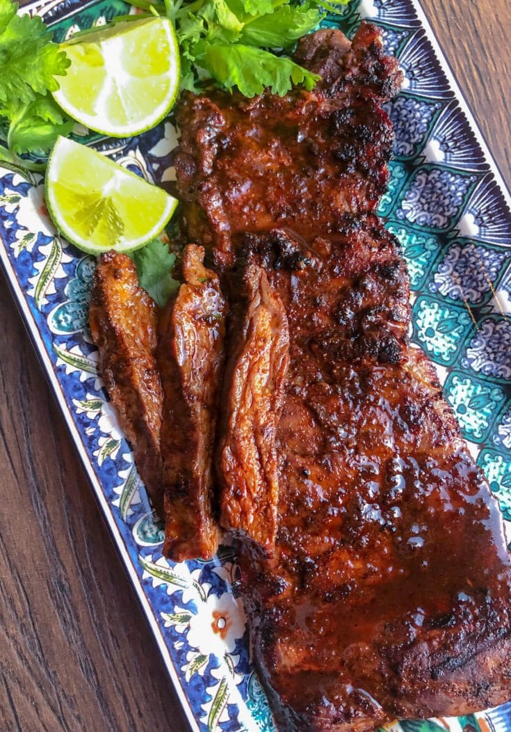 ancho chili dry rubbed skirt steak