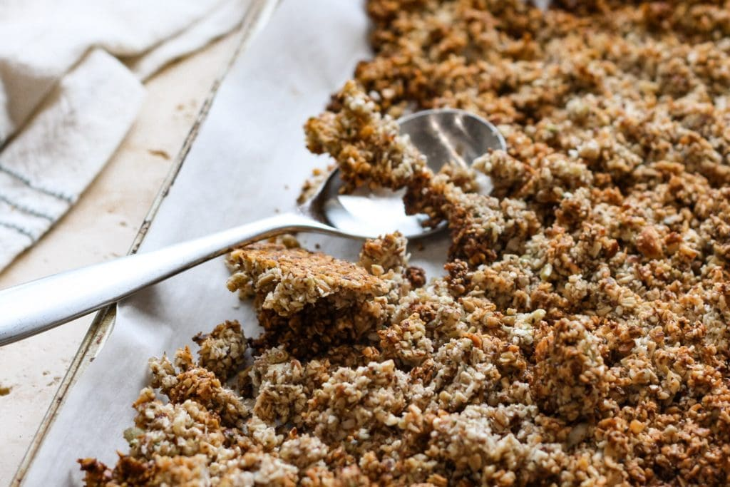 baking sheet with baked granola