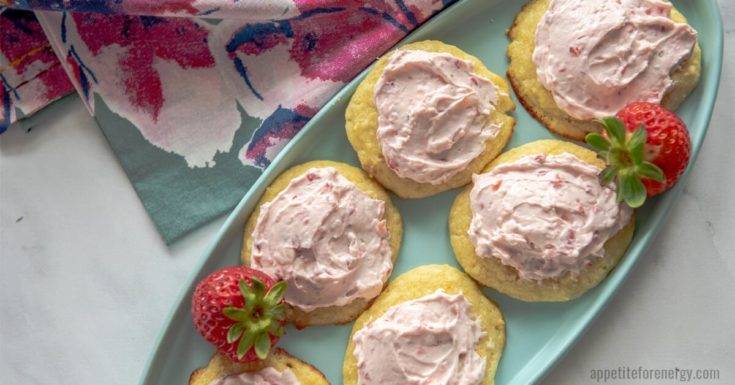 Keto Lemon Sugar Cookie with Strawberry Frosting