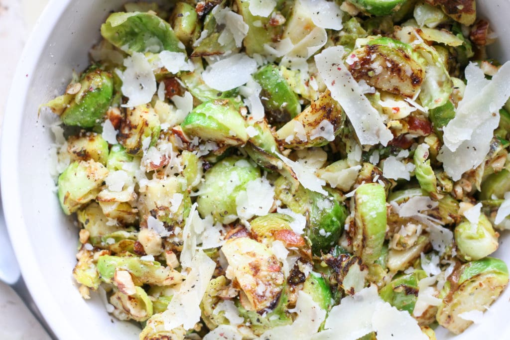 close up of shaved lemon parmesan brussels sprouts