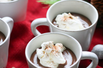 white mugs filled with mexican hot chocolate pudding