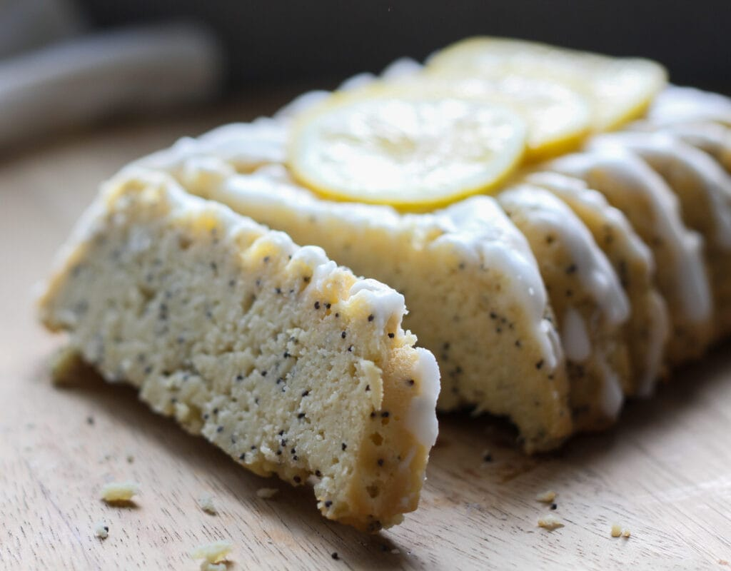 side view of a slice of dairyfree low carb lemon poppy seed bread