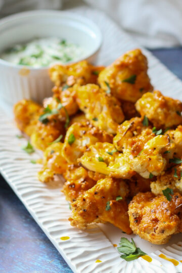 air fryer low carb cauliflower bites with ranch