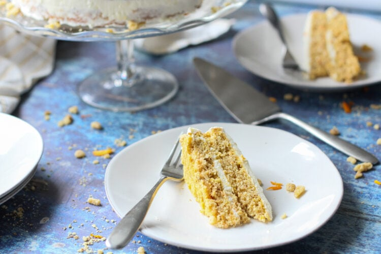 slice of low carb sugar-free carrot cake on a white plate