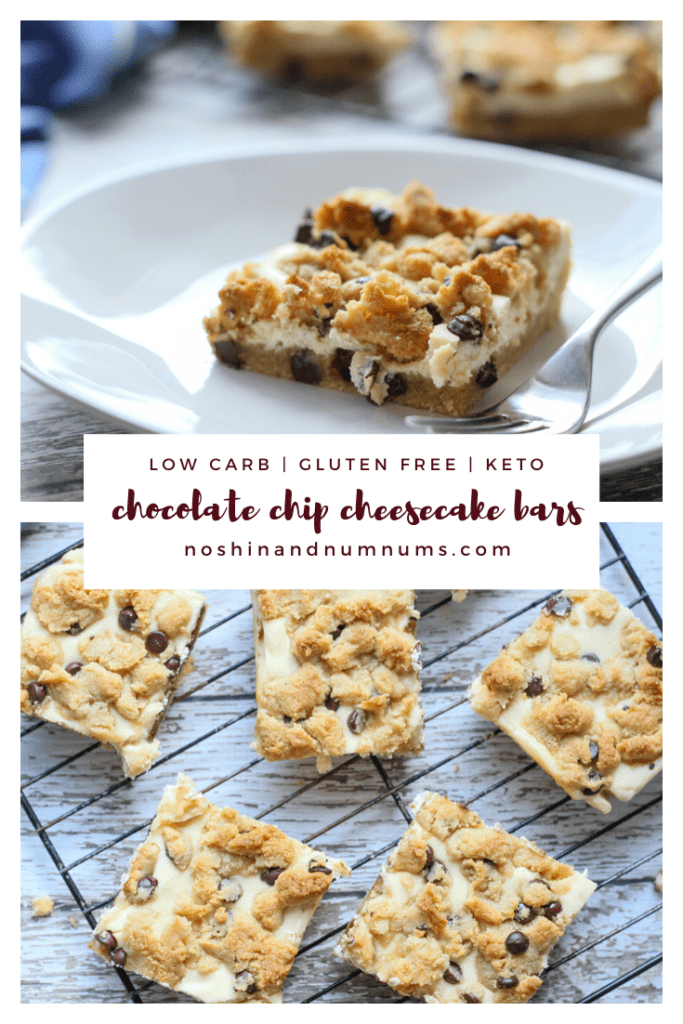easy low carb keto chocolate chip cheesecake bars