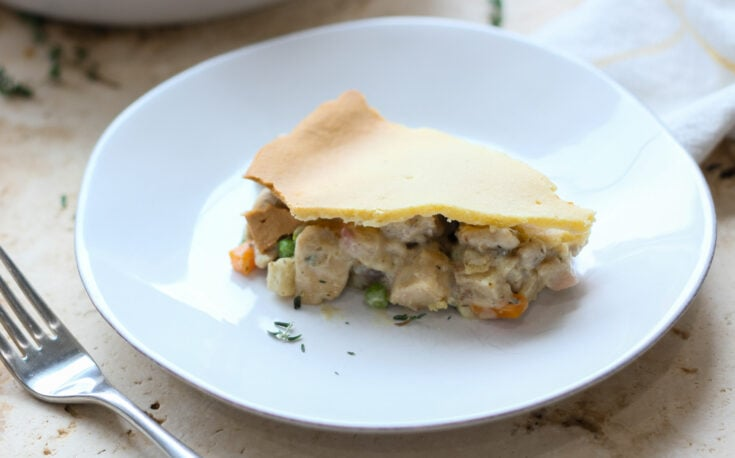 slice of keto low carb chicken pot pie