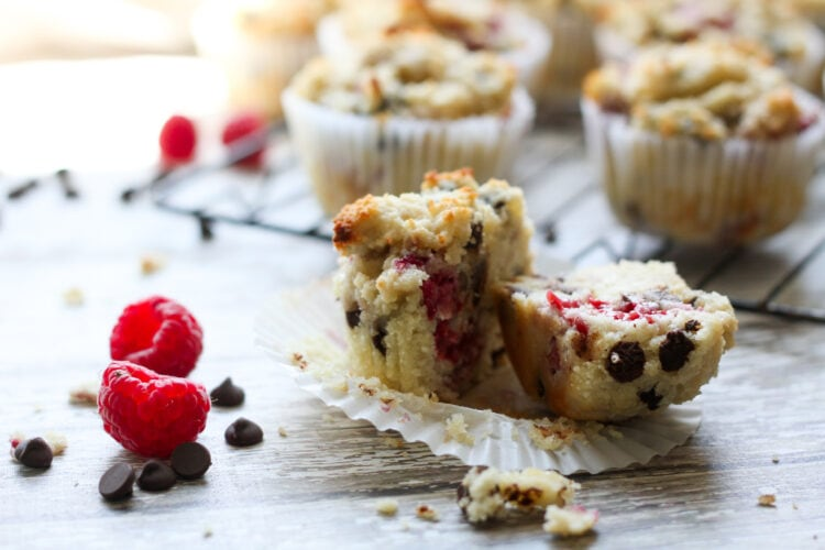 keto low carb raspberry chocolate chip muffins cooling on a rack