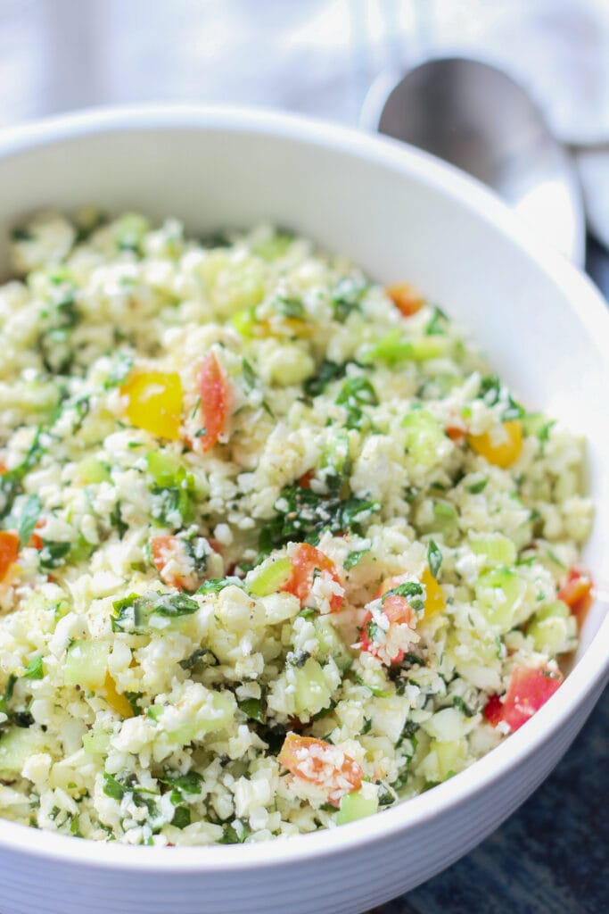 close up picture of keto low carb cauliflower tabbouleh salad