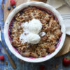 overhead baked keto mixed berry crumble topped with vanilla icecream