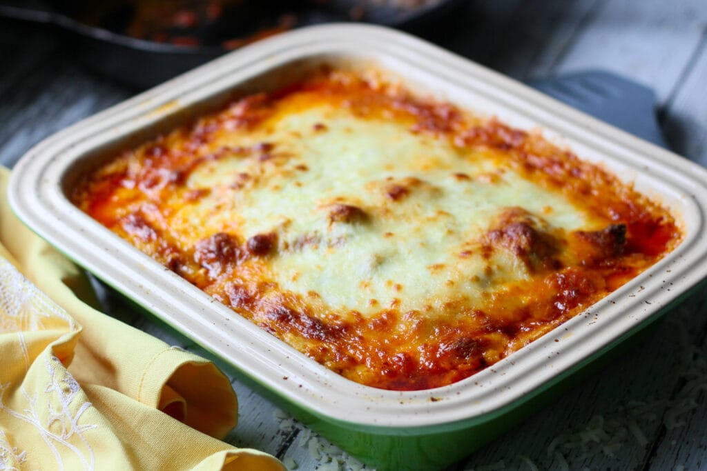 finished baked no noodle keto lasagna in a casserole dish