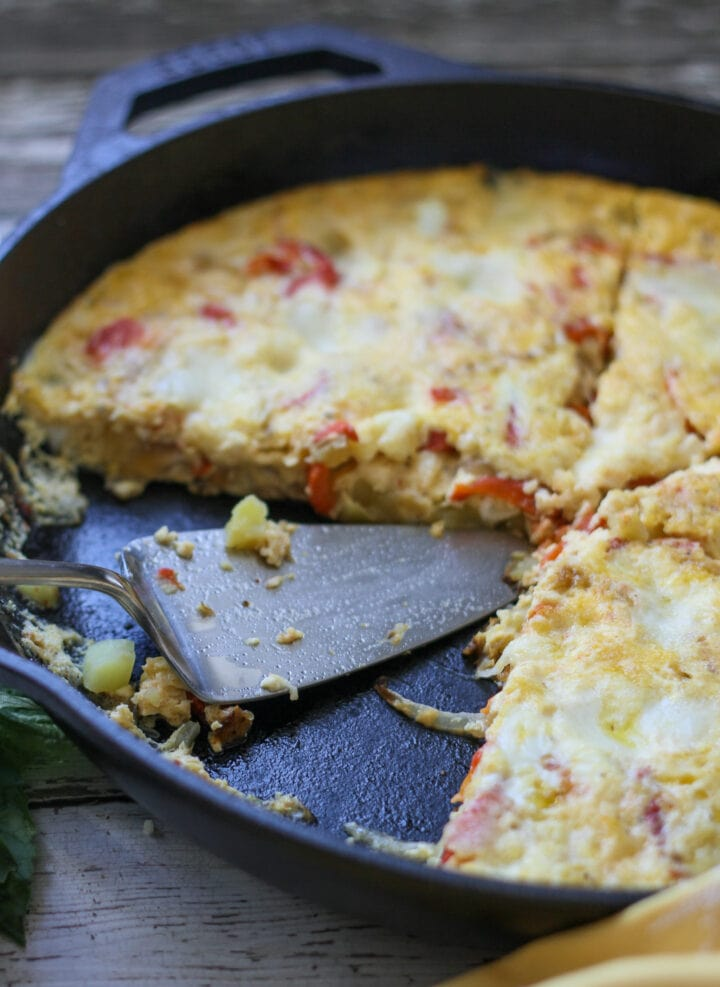 slice and serve red pepper and potato frittata
