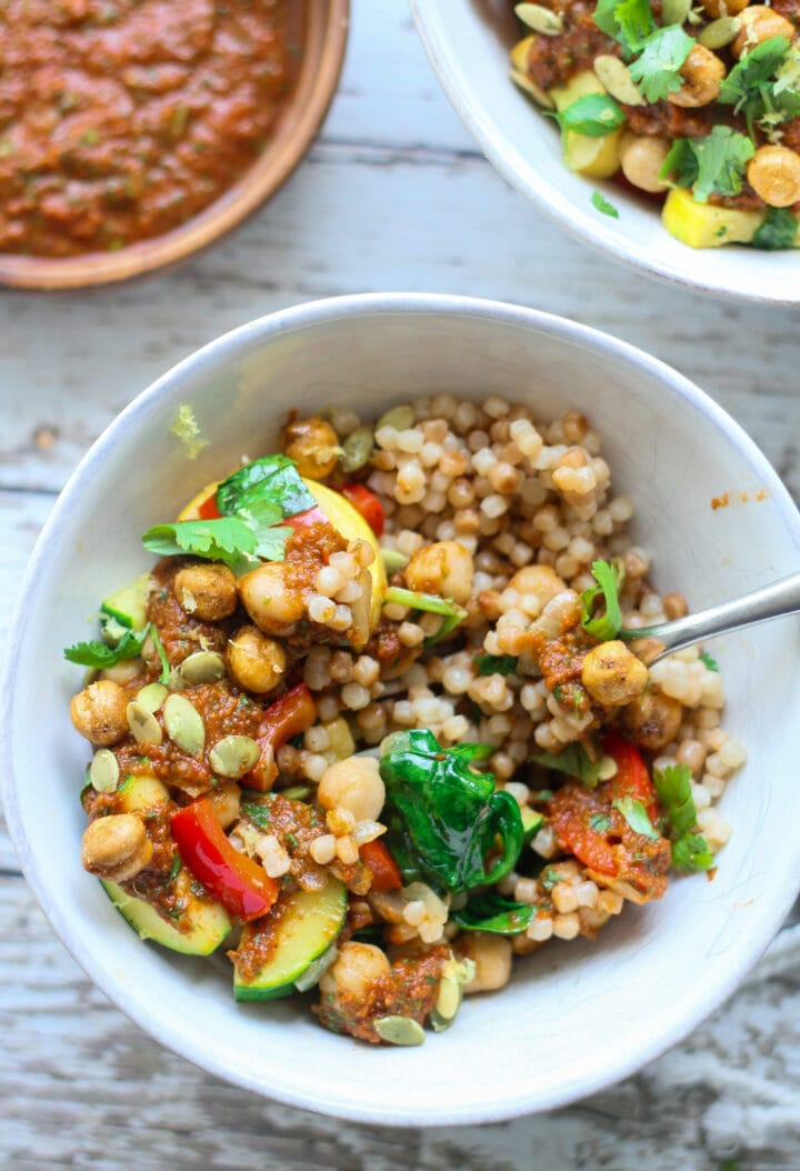 half eaten moroccan vegetable tagine buddha bowl