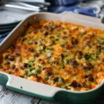 low carb chicken jalapeno popper casserole in a baking dish