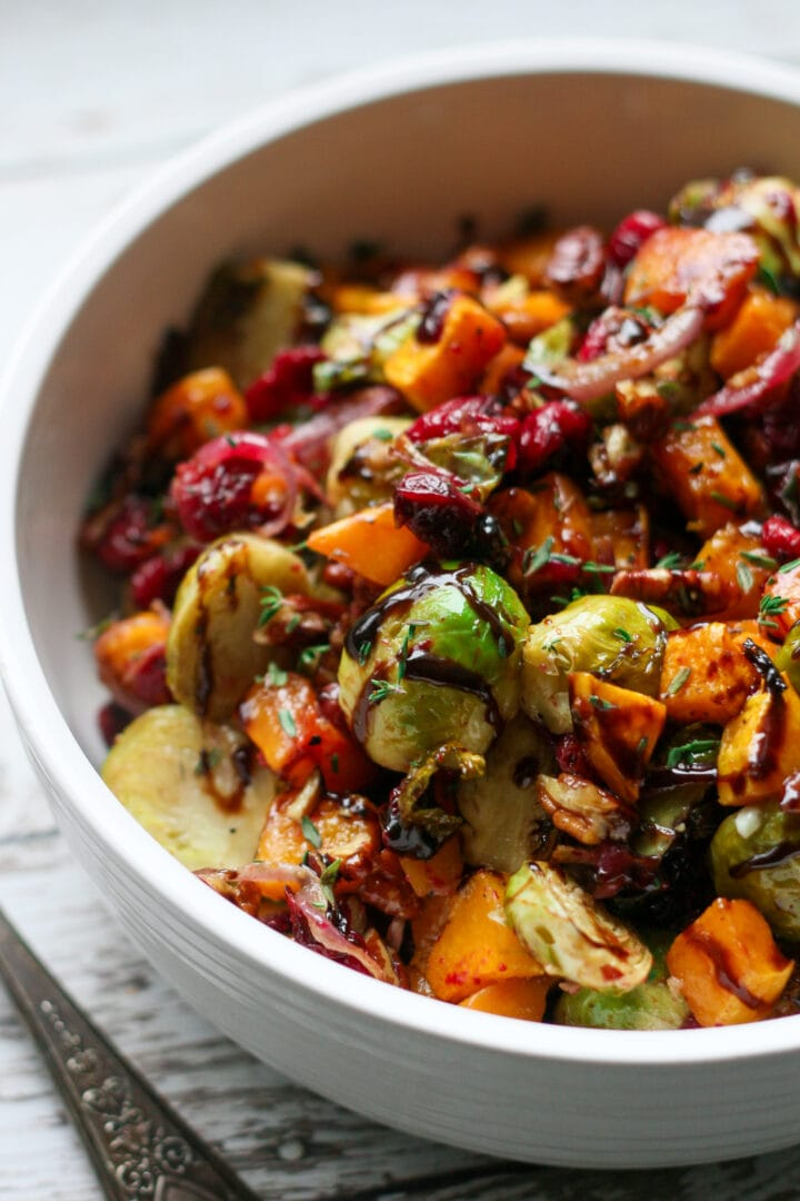 side view paleo roasted brussels sprouts and butternut squash